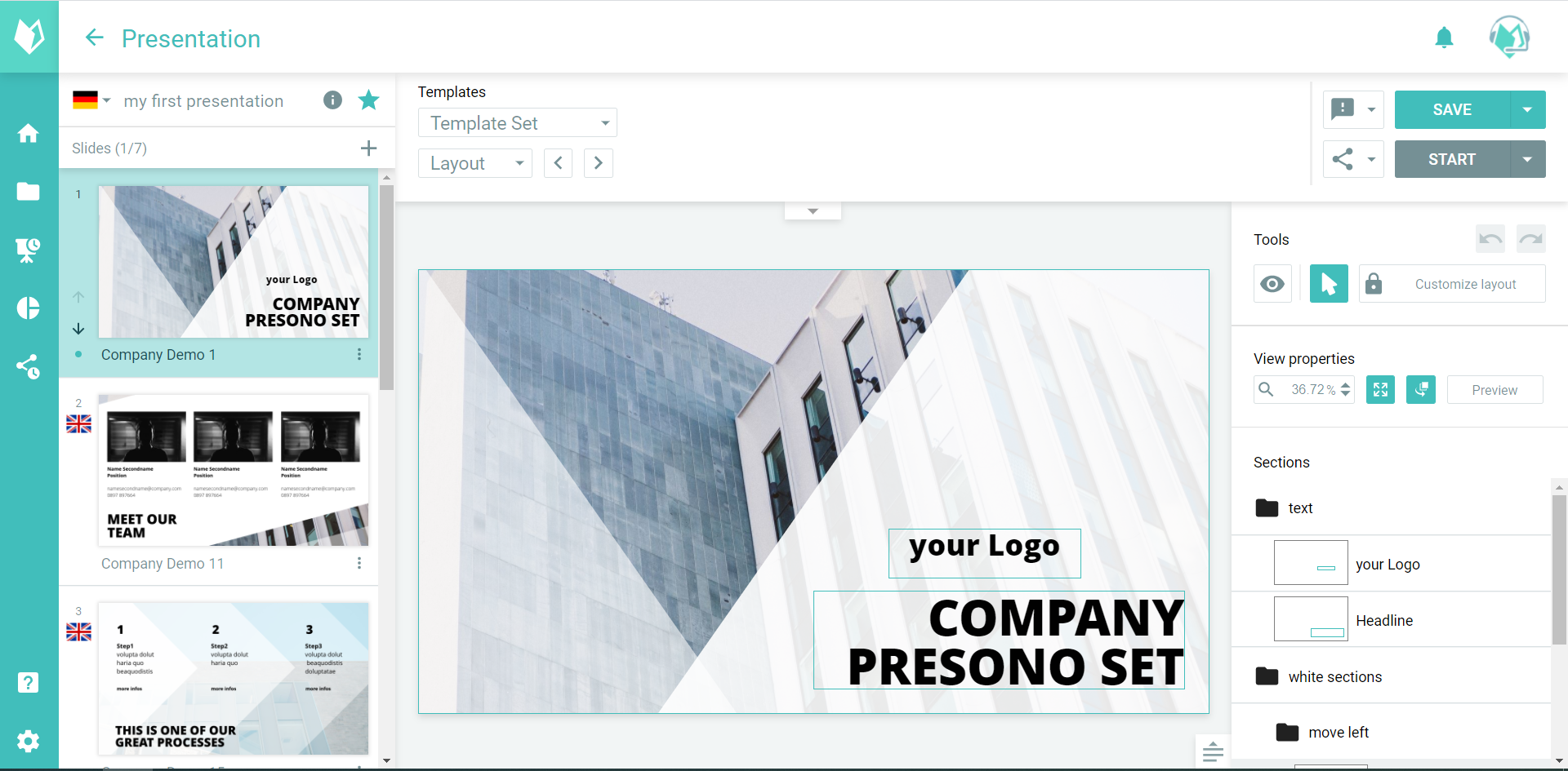 Presentation software presono